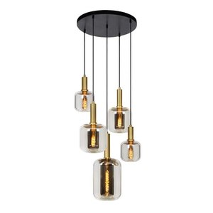 Lucide JOANET - Hanging lamp - Ø 71 cm - 5xE27 - Fumé
