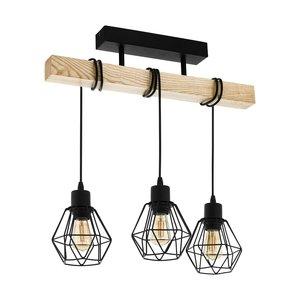 EGLO TOWNSHEND 5 Hanglamp E27 zwart/hout 43131