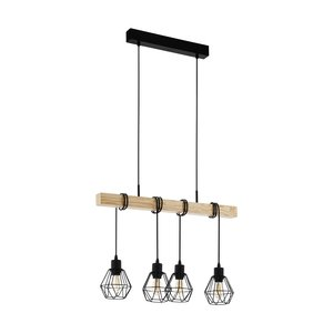 EGLO TOWNSHEND 5 Hanging lamp E27 black/wood 43132