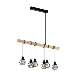 EGLO TOWNSHEND 5 Hanging lamp E27 black / wood 43133