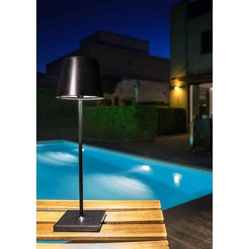 Lucide JUSTIN - Tafellamp Buiten - Ø 11 cm - LED Dimb. - 1x2,2W 3000K - IP54 - Zwart - 27888/03/30
