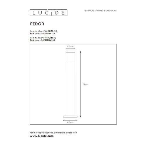 Lucide FEDOR - Sokkellamp Buiten - 1xE27 - IP44 - Zwart - 14899/80/30