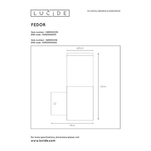 Lucide FEDOR - Wandlamp Buiten - 1xE27 - IP44 - Zwart - 14899/01/30