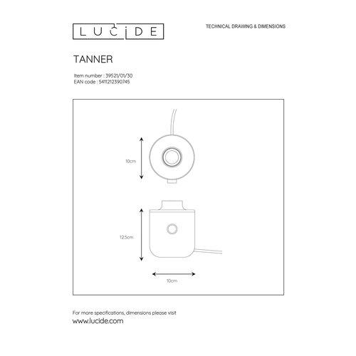 Lucide TANNER - Tafellamp - Ø 10 cm - 1xE27 - Mat Goud / Messing - 39521/01/02