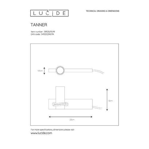 Lucide TANNER - Tafellamp - 1xE27 - Zwart - 39520/01/41