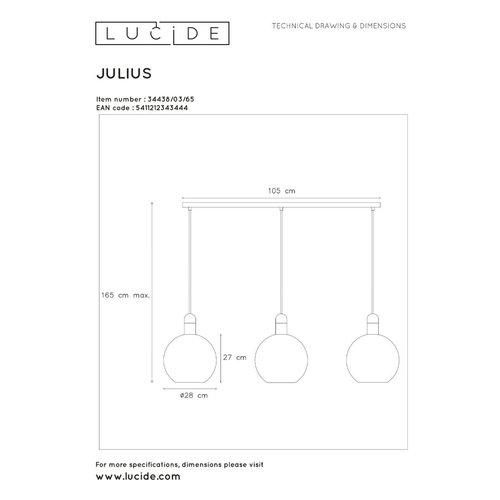 Lucide JULIUS - Pendant lamp - 3xE27 - Fumé - 34438/03/65