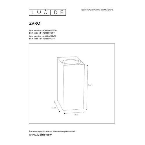 Lucide ZARO - Wandspot Buiten - 2xGU10 - IP44 - Zwart - 69800/02/30