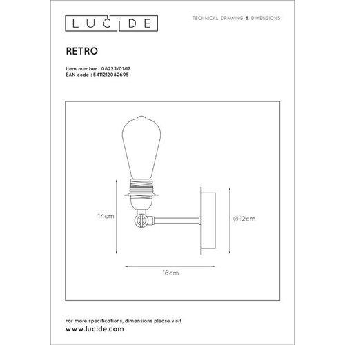 Lucide RETRO - Wandlamp - LED Dimb. - E27 - 1x5W 2700K - Koper - 08223/01/17