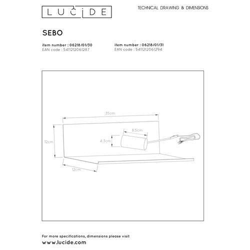 Lucide SEBO - Bedlamp - 1xE27 - Zwart - 06218/01/30