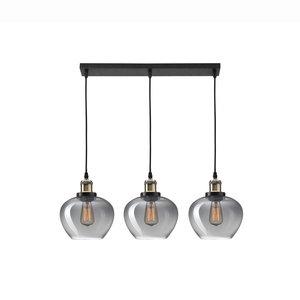 Nova Luce Cedro - hanging lamp 3L - 80 x 130 cm - smoked glass