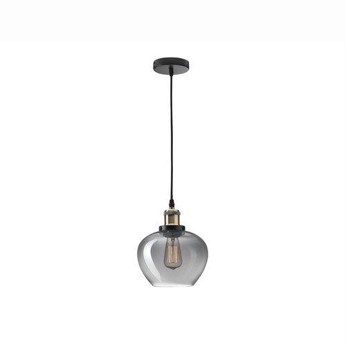 Nova Luce Cedro - hanglamp - Ø 18 x 130 cm - gerookt glas