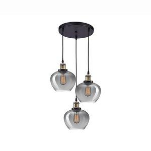 Nova Luce Cedro - hanging lamp 3L - Ø 35 x 130 cm - smoked glass