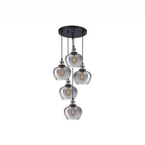 Nova Luce Cedro - hanging lamp - Ø 50 x 160 cm - smoked glass