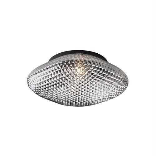 Nova Luce Sens - plafondlamp badkamer - Ø 25 x 11 cm - IP44 - grijs en zwart