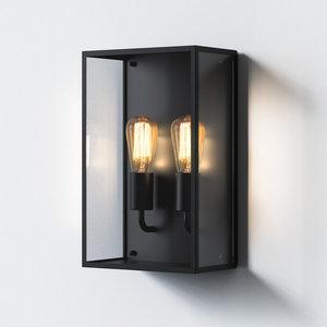 Astro Wall lamp IP44 Messina Twin Black textured