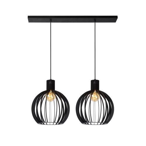 Lucide MIKAELA - Hanglamp - Ø 35 cm - 2xE27 - Zwart - 73400/02/30