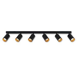 LioLights 6-spots wand- of plafondlamp 120cm GU10 zwart/goud