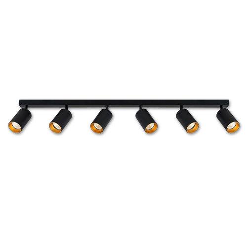 LioLights Applique ou plafonnier 6 spots 120cm GU10 noir/or