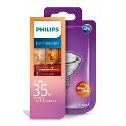 Philips Led MR16 6.5W-35W WarmGlow dimbaar