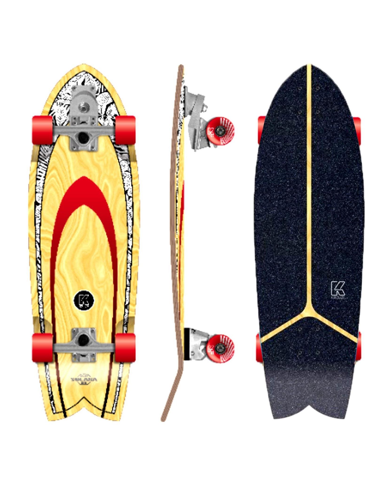 Kruuze Flying Wheels Surf Skateboard Solana 32 Blackleaf