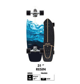 "Carver Carver 31"" Resin Surfskate Complete Trucks : C7 Raw"