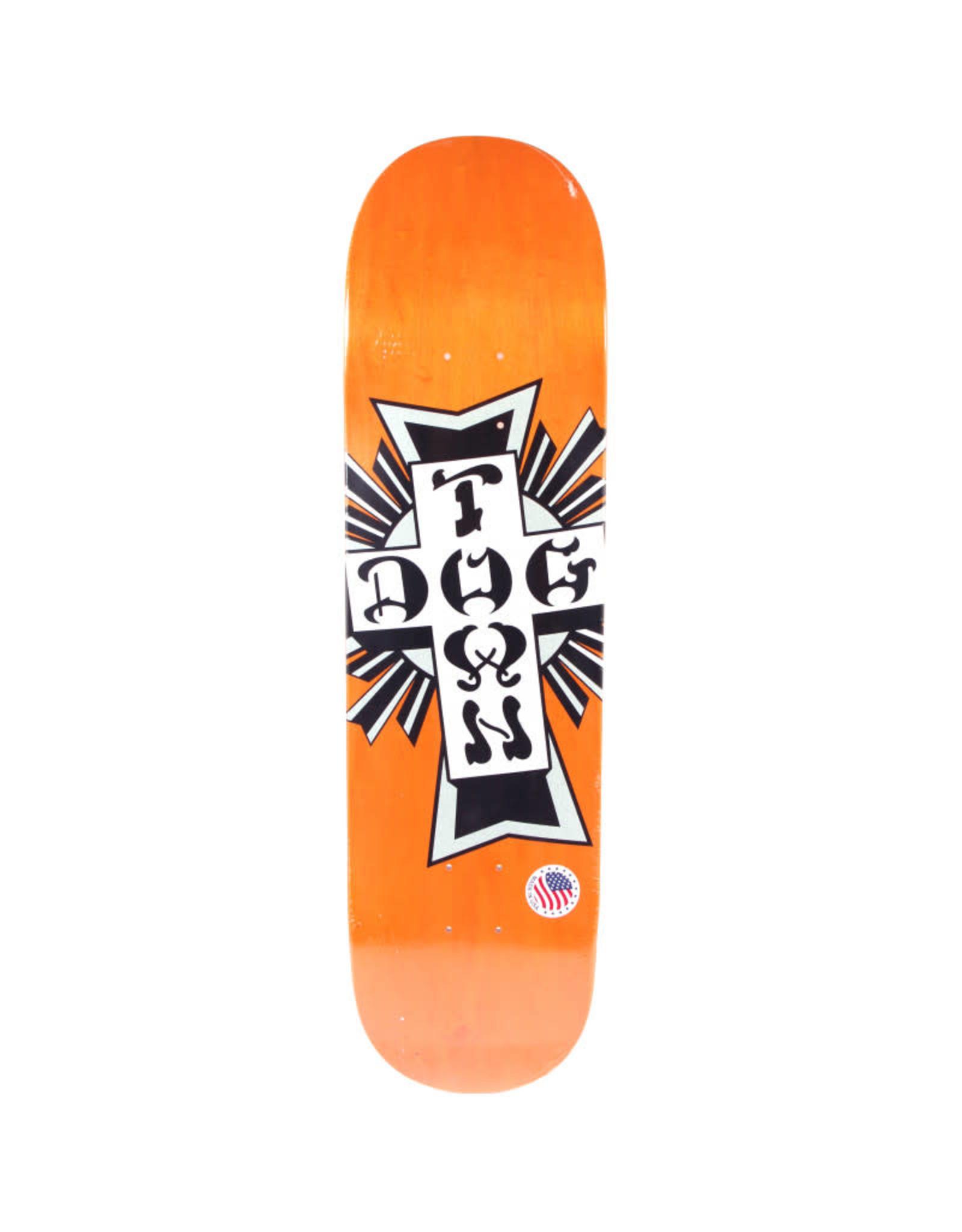 "Dogtown Dogtown 8.25"" Street Cross Silver Cross Skateboard Deck Orange"