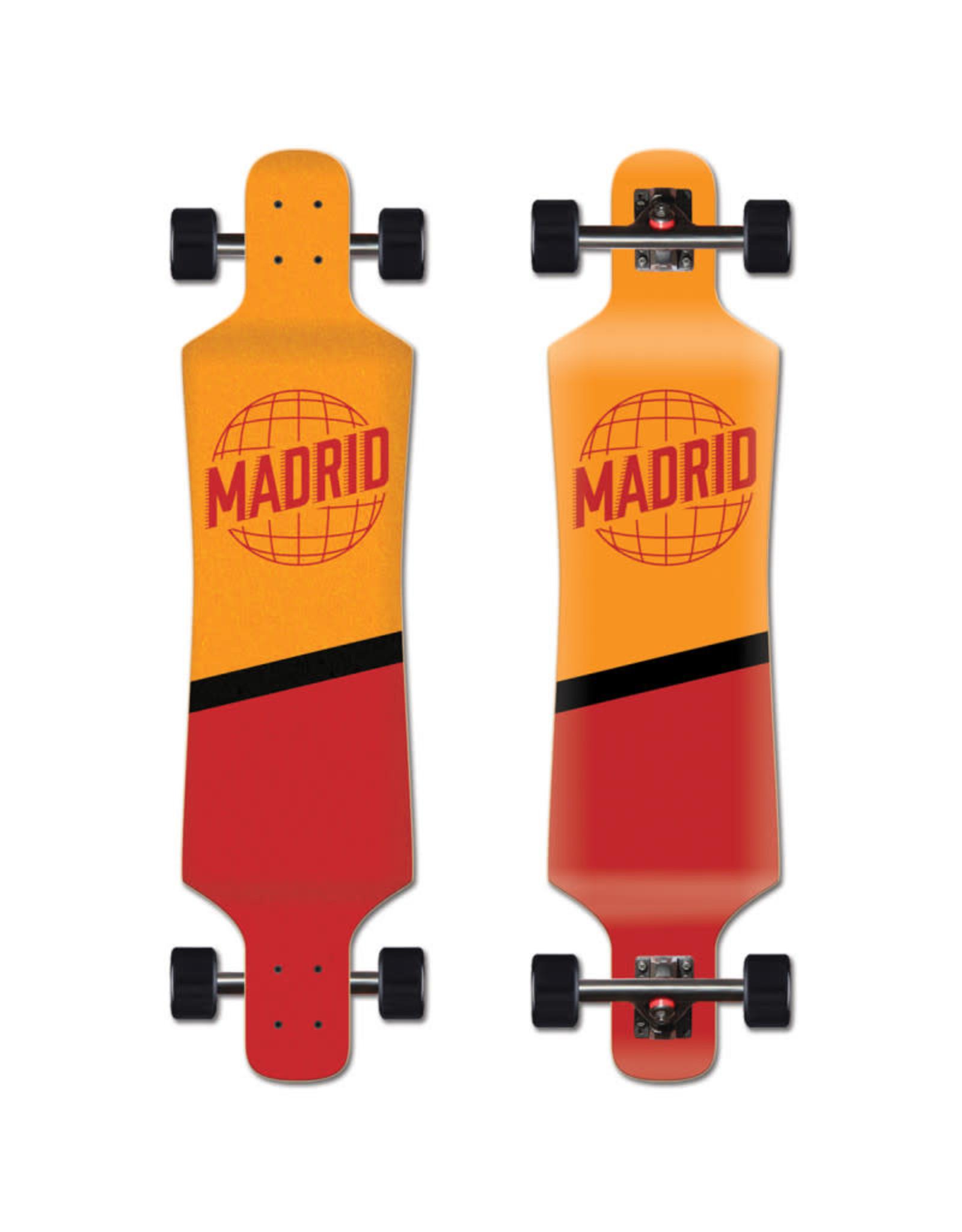 "Madrid Madrid  39"" Spade Top-Mount World Orange/Red Longboard Complete"