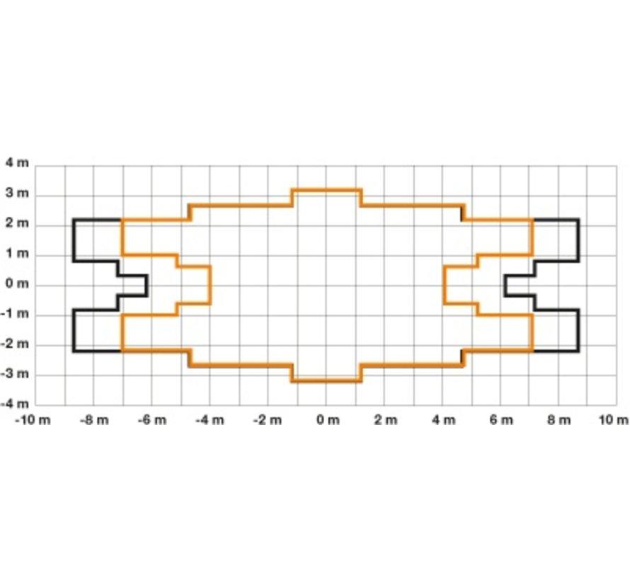 Professionele bewegingsmelder voor hoge gangen, bereik 20m, IP54, wit