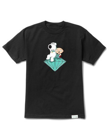DIAMOND STEWIE AND BRIAN BRILLIANT TEE BLACK