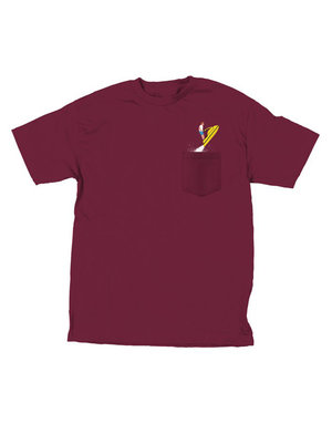 SKATE MENTAL JETSKI POCKET T-SHIRT - BURGUNDY