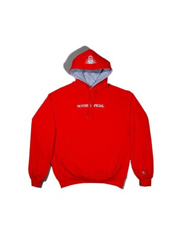 NOTHING SPECIAL THICKER THAN WATER PULLOVER HOODY - RED