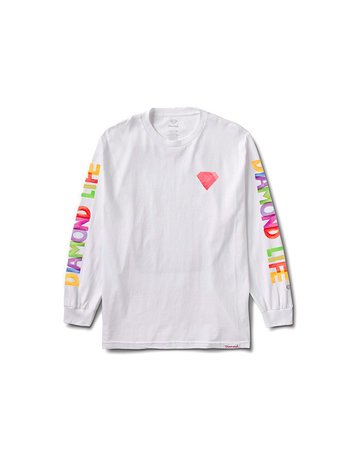 DIAMOND WATERCOLOR L/S TEE - WHITE