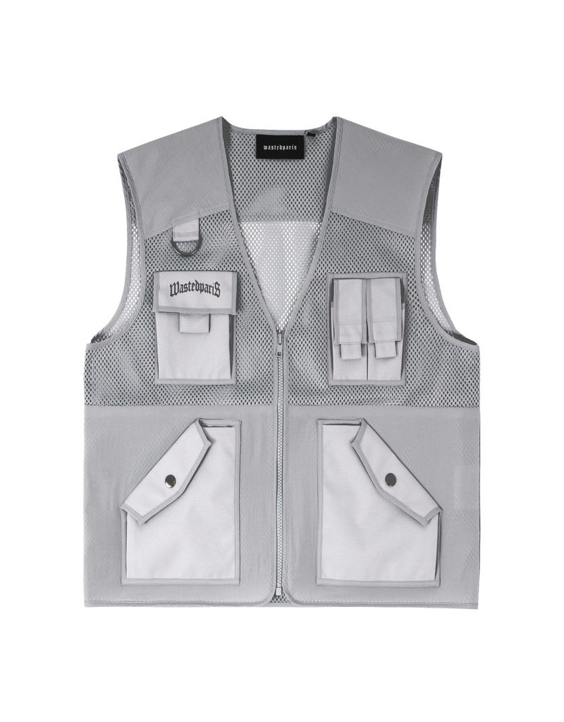 WASTED PARIS TACTICAL POCKET VEST SILVER GREY