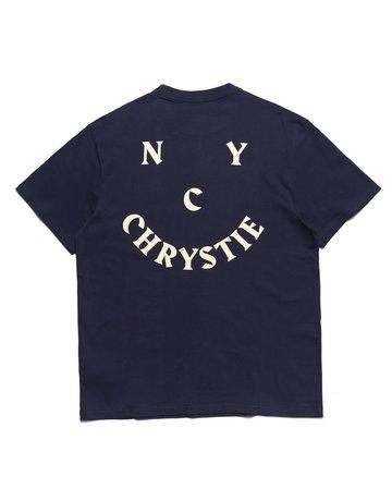 CHRYSTIE NYC SMILE LOGO T-SHIRT - NAVY