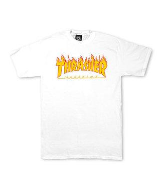 THRASHER FLAME LOGO TEE - WHITE