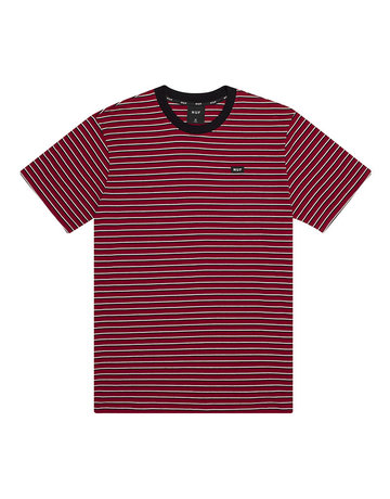 HUF DAVIS STRIPED S/S KNIT TOP - RED PEAR