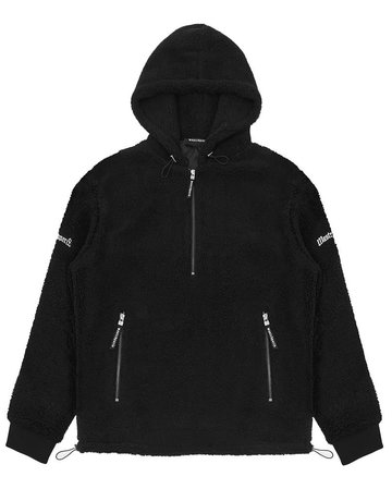 WASTED PARIS HALF ZIP SHERPA HOODIE - BLACK