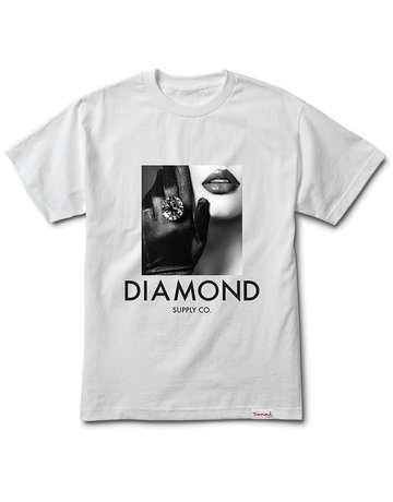 DIAMOND BLACK GLOVES S/S TEE - WHITE