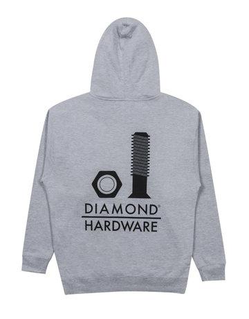 DIAMOND SECURED HOODIE - HEATHER GREY