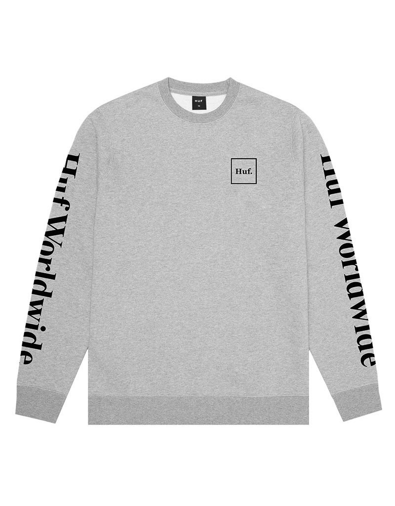 HUF ESSENTIALS DOMESTIC CREW - GREY HEATHER