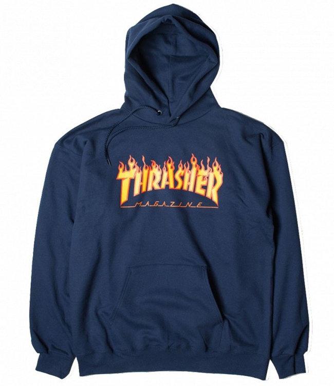 THRASHER FLAME HOOD - NAVY