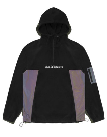 WASTED PARIS RIOT REFLECTIVE POLAR HOODIE - BLACK