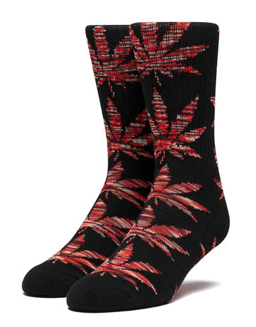 HUF PLANTLIFE MELANGE LEAVES SOCK - BLACK/RED