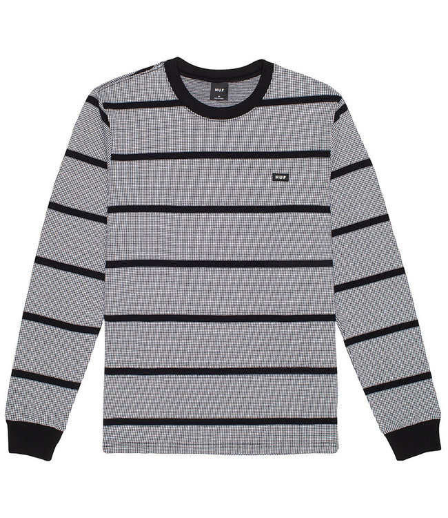 HUF HOUNDSTOOTH STRIPE L/S KNIT - BLACK