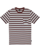 HUF JETT STRIPE S/S KNIT TOP - DEEP MAHOGANY