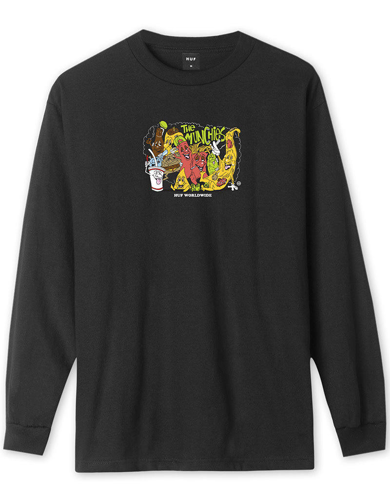 HUF THE MUNCHIES L/S TEE - BLACK