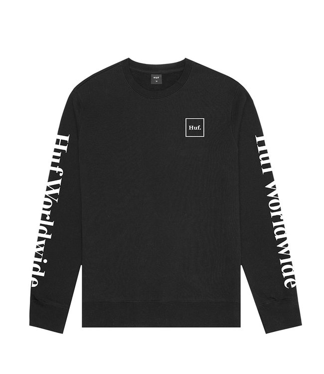 HUF ESSENTIALS DOMESTIC CREW - BLACK