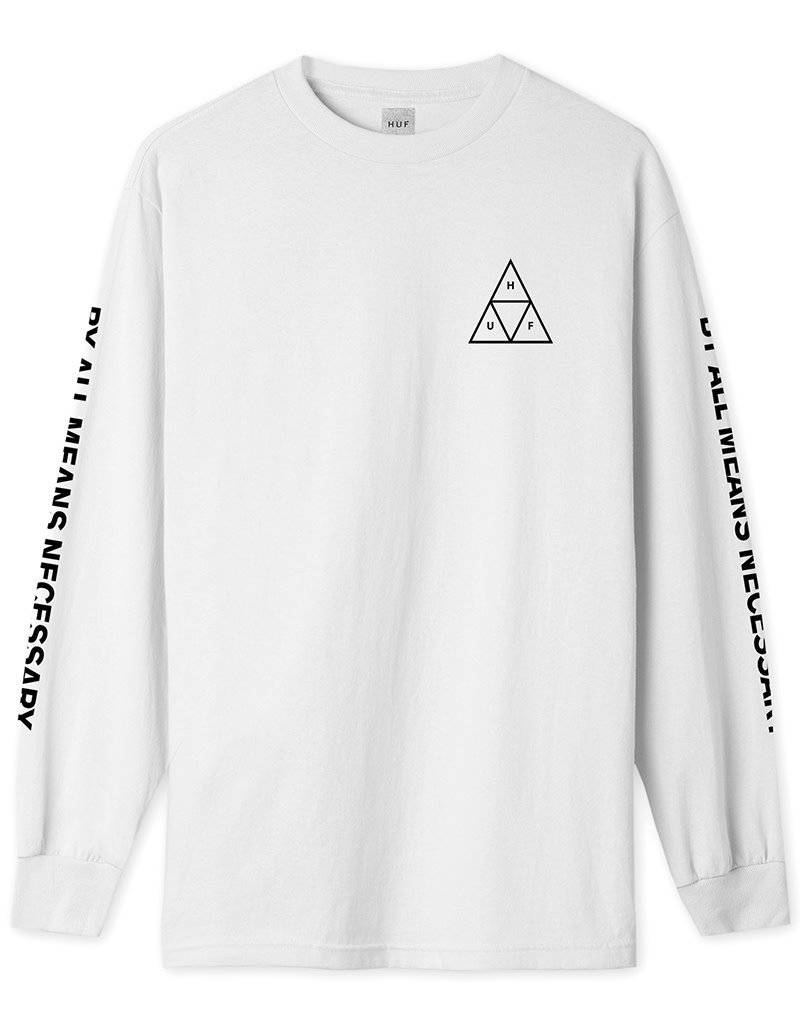 HUF ESSENTIALS TT L/S TEE - WHITE