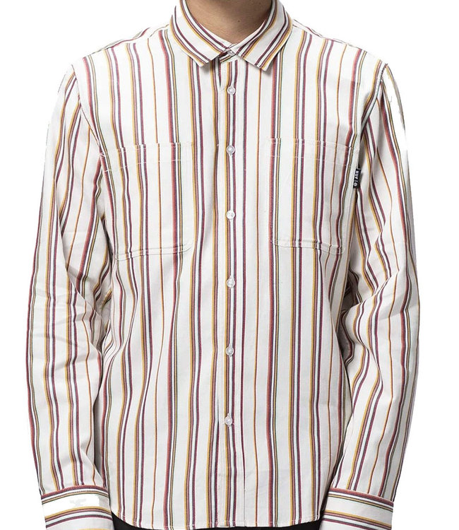 HUF TAYLOR WORK WOVEN L/S SHIRT - WHITE
