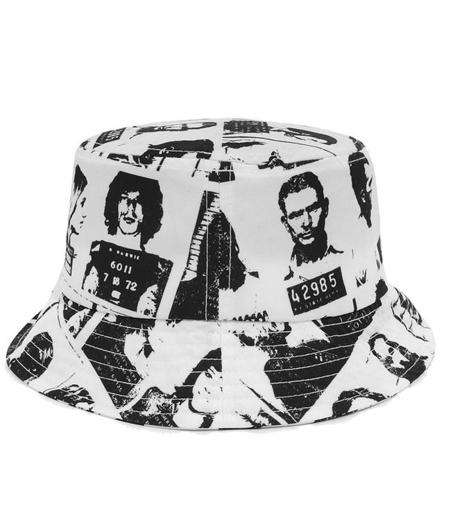 WASTED PARIS VIOLENCE ALLOVER BUCKET HAT - WHITE/BLACK